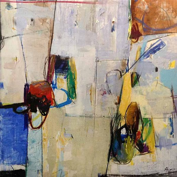 Helen Zarin abstract painting with multicolor lines and shapes