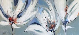 Angela Maritz painting of 3 white tulips
