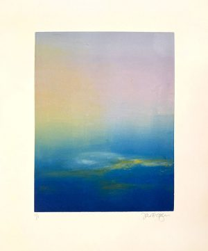 Jane Cooper monotype of saturated blue ocean and radiant sky
