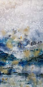 Alexys Henry painting of abstract cool colors with gold and silver