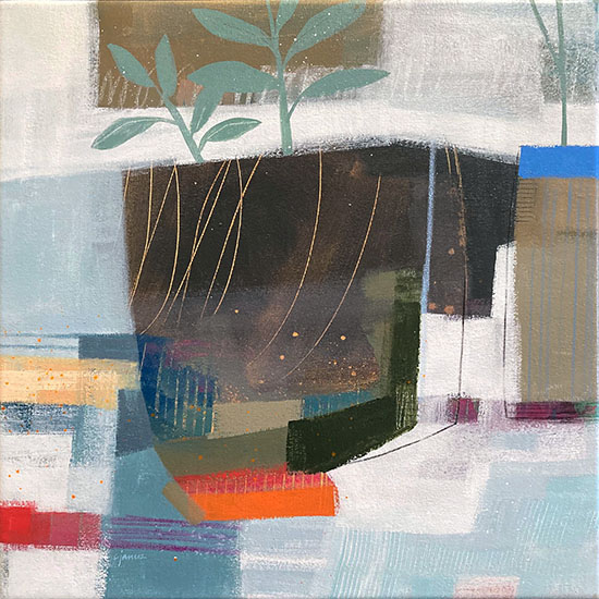 Carlyn Janus abstracted still life of pot with leaves