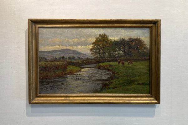Framed Ben Fisher painting of rural location in Wales with cows