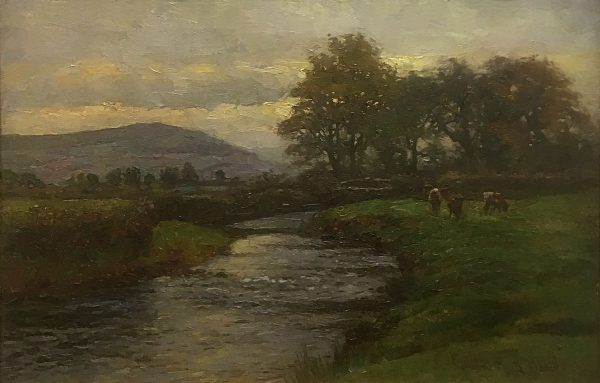 Ben Fisher painting of rural location in Wales with cows