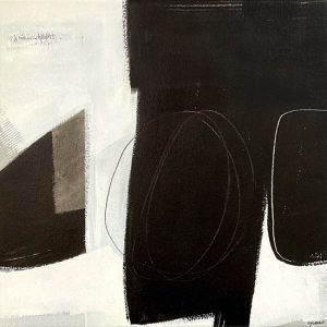 Carlyn Janus painting of abstract black and white shapes