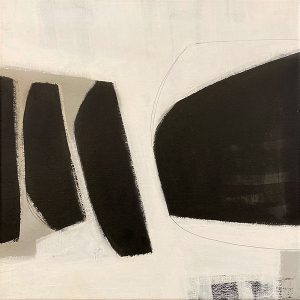 Carlyn Janus painting of black and grey shapes on white background