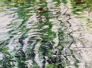 Lynne Adams abstract with green and white ripples