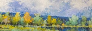 Jeff Koehn painting of trees in a field