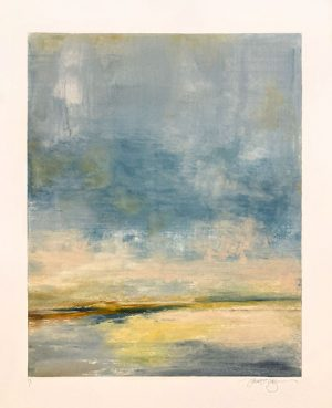 Jane Cooper print of stylized landscape with body of water