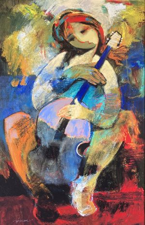 Hessam Abrishami giclee of seated musician with cello or upright bass