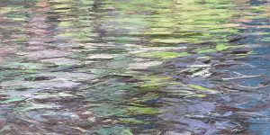 Lynne Adams painting of rippling water reflection with purple and green