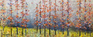 Jeff Koehn painting of birch trees in a forest