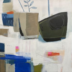 Carlyn Janus abstract still life painting with potted plants