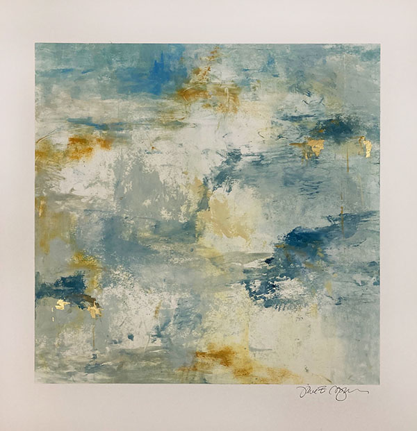 Jane Cooper abstract collage with gold leaf