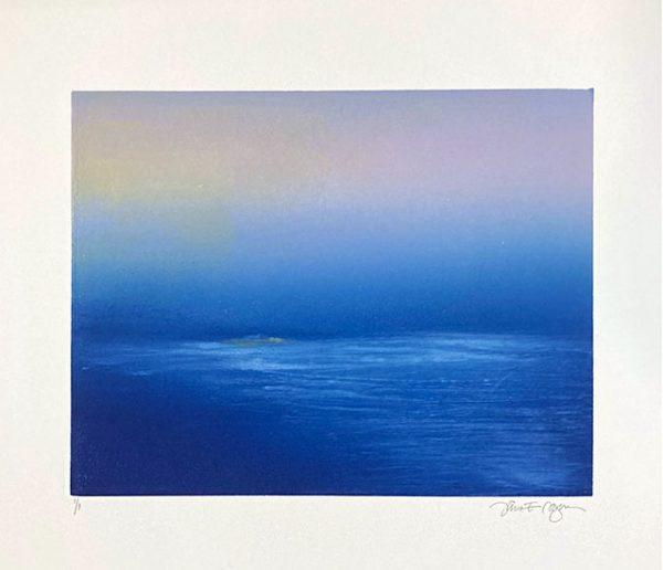 Jane Cooper monotype of saturated blue ocean