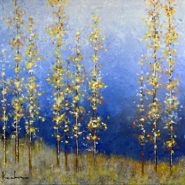 Jeff Koehn painting of yellow trees on blue background