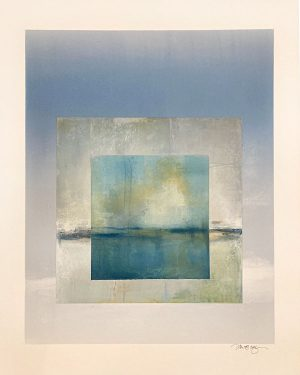 Jane Cooper abstract monotype with blue square inside beige square