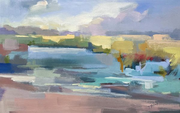 Trish Hurley painting of abstract landscape with river and open field