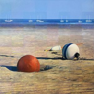 Robert Bolster painting of 3 buoys on beach with sailboats in distance