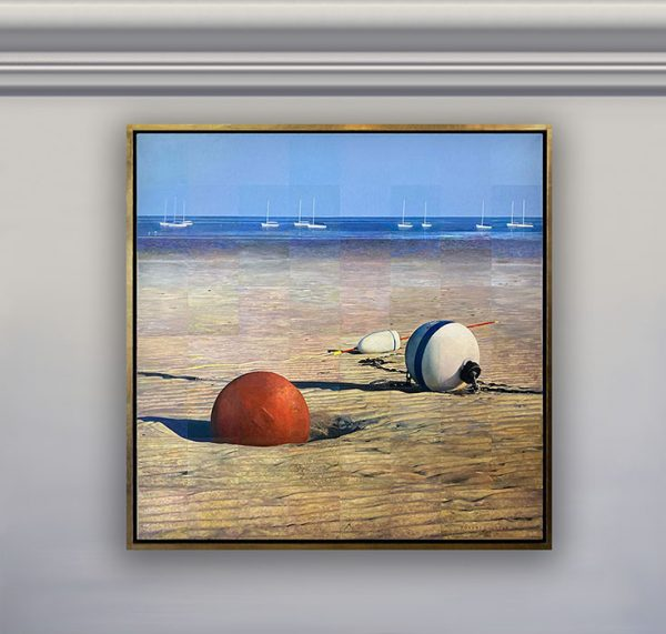 Framed Robert Bolster painting of 3 buoys on beach with sailboats in distance