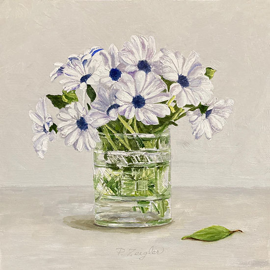 Patti Zeigler painting of african daisies in a vase