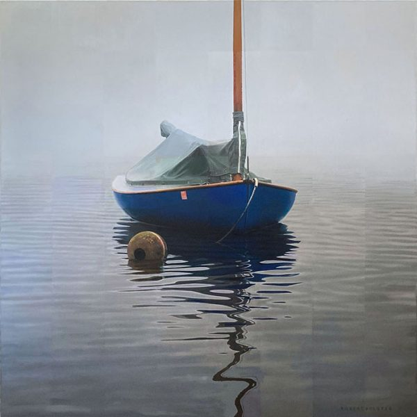 Robert Bolster painting of blue boat in water on foggy day