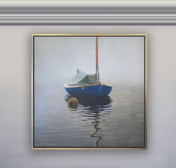 Framed Robert Bolster painting of blue boat in water on foggy day