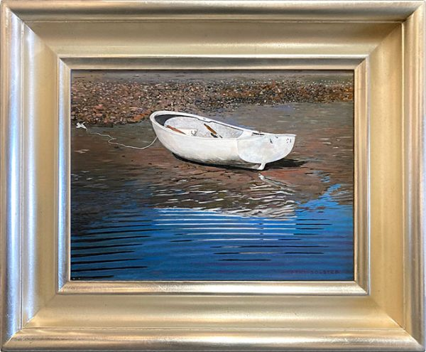 Framed Robert Bolster painting of small beached boat