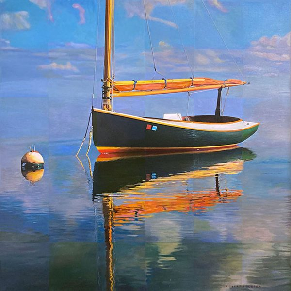 Robert Bolster painting of sail boat with reflection on water on sunny day