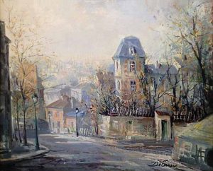 Lucien DeLarue painting of a village street in France