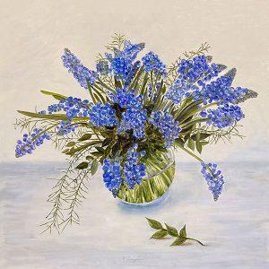 Patti Zeigler painting of hyacinths in round vase