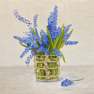 Patti Zeigler painting of hyacinths in square vase tied with twine