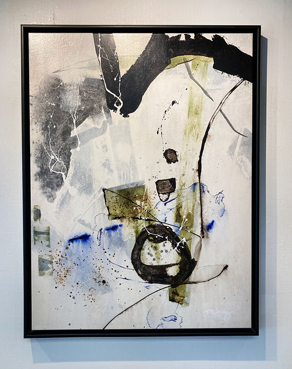Framed Dennis Smith-Carney painting of flowing lines and color swatches with splatter