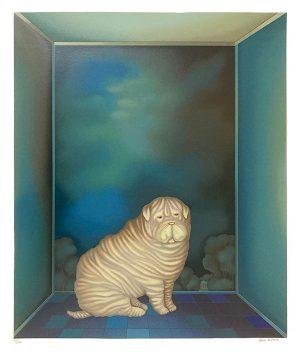 Igor Galanin print of a sharpei puppy in a blue room