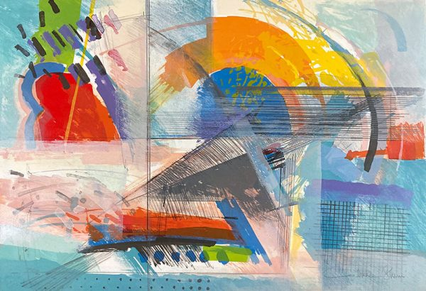 Calman Shemi print of colorful lines, shapes, and swirls