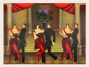 Igor Galanin print of 3 couples dancing in a ballroom