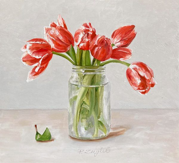 Patti Zeigler painting of pink tulips in a vase