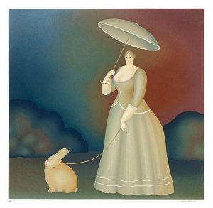 Igor Galanin print of victorian lady with a parasol walking a rabbit on a leash
