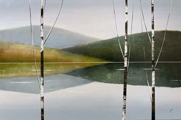 Sydney Edmunds painting of birch trees with hills and lake in background