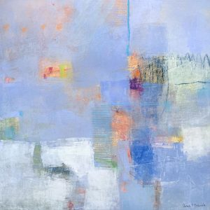 Ursula Brenner painting with pastel colors like periwinkle and peach