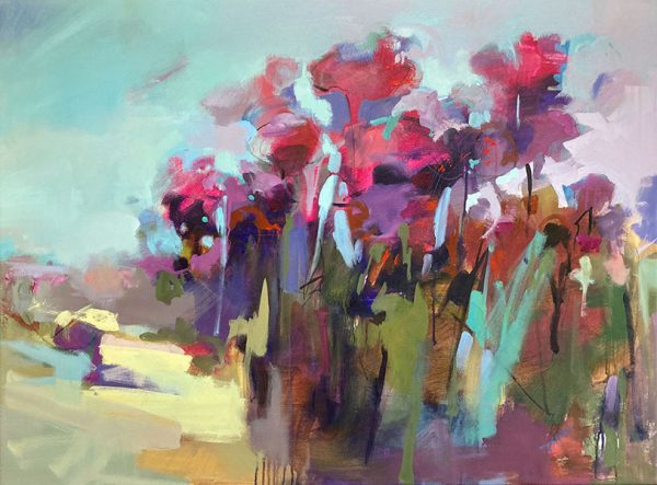 Trish Hurley painting of bright vivid flowers in a garden