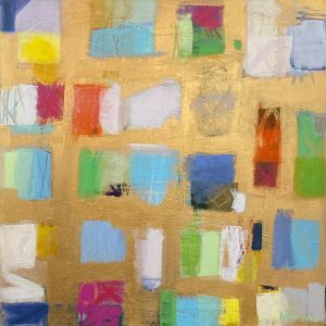 Ellen Hermanos painting of color swatches on gold background