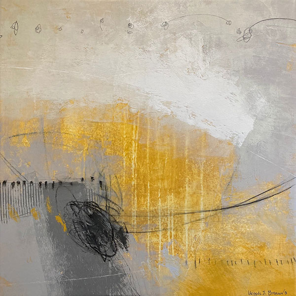 Ursula Brenner abstract painting with yellow, grey, and white