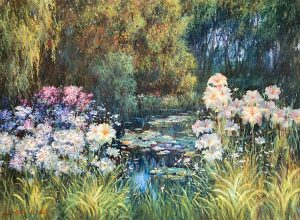 Sang Lee painting of pond surrounded by flowers and trees