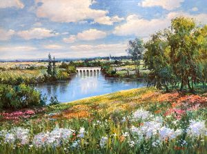 Sang Lee painting of flowers in a field with an aqueduct in background