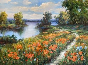 Sang Lee painting of path leading towards water with orange flowers