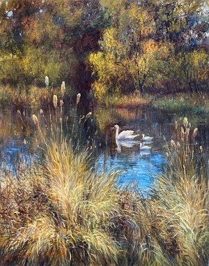 Sang Lee painting of mother and baby swans swimming on a pond
