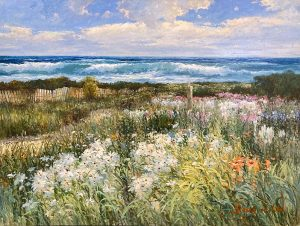 Sang Lee painting of wildflowers nest to beach at high tide