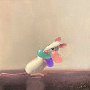 Stuart Dunkel painting of a mouse holding jelly beans