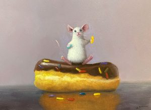 Stuart Dunkel painting of a mouse standing on a donut holding sprinkles