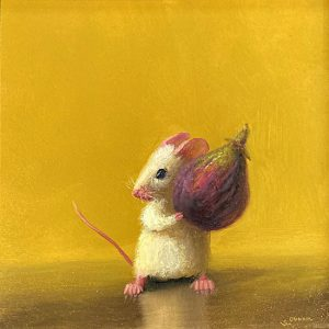Stuart Dunkel painting of a mouse holding a fig